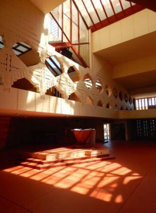 Interior of Annie Pfeiffer Chapel, Florida Southern College, Frank Lloyd Wright Design