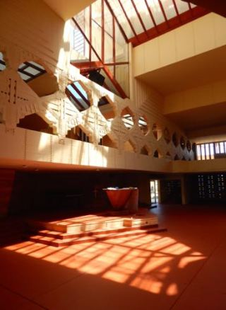 Interior of Annie Pfeiffer Chapel, Florida Southern College, Frank Lloyd Wright Design