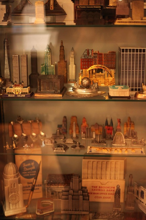 A small portion of the miniature buildings to be see.