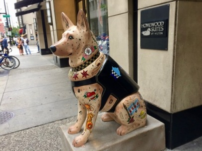 One of the Dog Sculpture guarding the entrance to the Homewood Suites, Downtown - the SBCS Convention hotel.