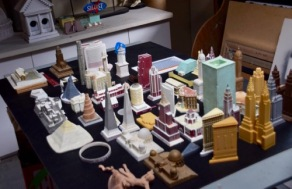 An array of souvenir buildings on display at the 2016 SBCS Convention