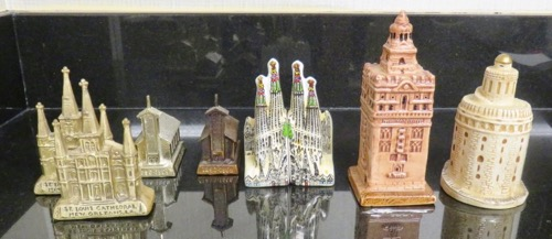 Carol Detweiler's Salt and Peppers. St John Cathedral, New Orleans; Little Brown Church, IA: Gaudi Cathedral, Barcelona; Seville Cathedral Tower and Toro de Oro.